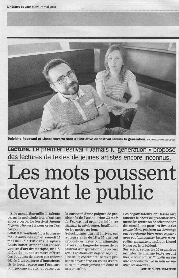Article Hérault du jour