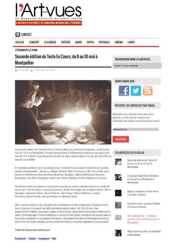 L'Arts vues.com - 25/04/2014
