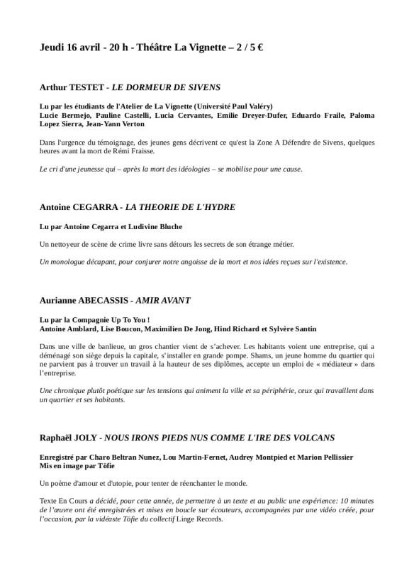 Programme TEC - 16 avril 2015